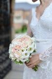Jeune mariée tenant le buquet photos libres de droits
