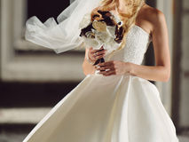 Jeune mariée en vent Photo stock