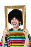 Jeune Mexicain drôle avec le cadre de photo d'isolement dessus Photo libre de droits