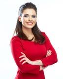 Jeune modèle femelle Studio d'isolement, fond blanc Image stock