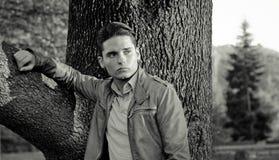 Jeune modèle mâle attrayant se penchant sur l'arbre Images stock