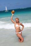 Jeune noix de coco femelle de fixation sur la plage tropicale photo libre de droits