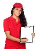 Jeune ouvrier avec l'uniforme rouge Photographie stock libre de droits