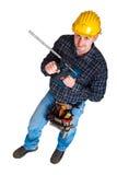 Jeune ouvrier d'isolement avec les outils 024 Photos stock