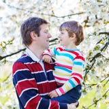 Jeune père et peu de garçon d'enfant dans le jardin de floraison Images libres de droits
