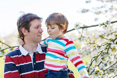 Jeune père et peu de garçon d'enfant dans le jardin de floraison Images stock