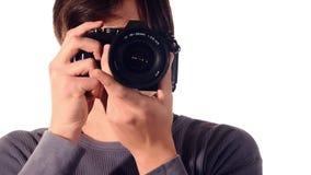 Jeune photographe banque de vidéos