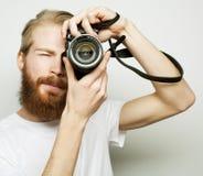Jeune photographe barbu Photographie stock libre de droits