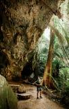 Jeune photographe masculin asiatique avec le tissu occasionnel en caverne t de forêt photo stock
