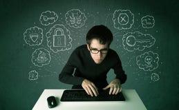 Jeune pirate informatique de ballot avec le virus et les pensées de entailler illustration stock