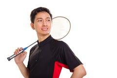Jeune plan rapproché asiatique de joueur de badminton photographie stock libre de droits
