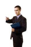 Jeune point de personne d'affaires de Confedent avec le crayon lecteur Photos libres de droits