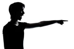 Jeune pointage de garçon ou de fille d'adolescent Images libres de droits