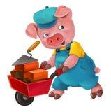 Jeune porc d'isolement par bande dessinée dans l'équipement de travail - intéressé - fonctionnant - d'isolement illustration stock