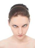Jeune portrait caucasien de femme d'isolement Photo stock