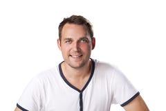 Jeune portrait occasionnel d'homme d'isolement sur le fond blanc Photographie stock libre de droits