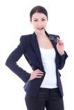 Jeune pose gaie attrayante de femme d'affaires d'isolement sur le petit morceau Images libres de droits