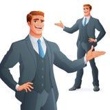 Jeune présentation d'homme d'affaires Illustration d'isolement de vecteur image stock
