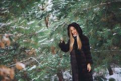 Jeune promenade modèle de fille dans la forêt d'hiver Photographie stock libre de droits