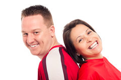 Jeune rire de couples Photos stock
