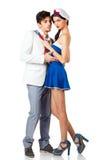 Jeune roleplay attrayant de couples dans l'uniforme de marin Image libre de droits