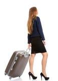 Jeune sac de voyage de participation de femme d'affaires Photos libres de droits