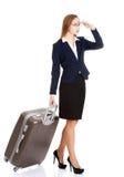 Jeune sac de voyage de participation de femme d'affaires Image stock