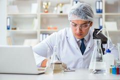 Jeune scientifique de chercheur faisant un expe de contamination d'essai d'eau photographie stock