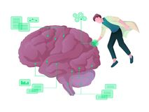 Jeune scientifique masculin explorant le Web d'intelligence artificielle