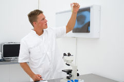Jeune scientifique regardant le tube à essai Images stock