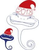 Jeune serpent dans le chapeau de Santa. Datte 2013 Photos libres de droits