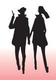 Jeune silhouette de couples Image libre de droits