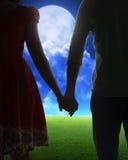 Jeune silhouette de couples sur un champ Images stock