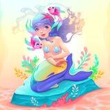 Jeune sirène avec quelques poissons autour de elle illustration stock
