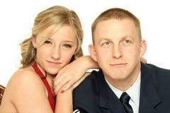 Jeune soldat et sa amie Photographie stock libre de droits