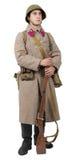 Jeune soldat soviétique avec l'uniforme d'hiver sur le backgroun blanc image stock