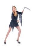 Jeune sorcière avec la faux Image libre de droits