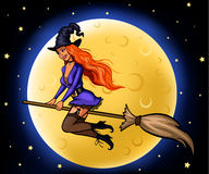 Jeune sorcière sur le manche à balai Image libre de droits