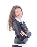 Jeune sourire de femme d'affaires d'isolement sur le blanc Image libre de droits