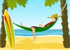 Jeune surfer sur une plage Illustration Libre de Droits