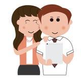 jeune tablette d'utilisation de couples Photographie stock libre de droits