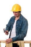 Jeune travailleur de la construction photographie stock libre de droits