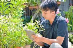 Jeune travailleur de sexe masculin asiatique de jardinier ou de fleuriste faisant la recherche à la ferme extérieure de jardin ut photos libres de droits