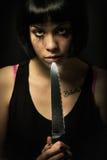 Jeune tueur pleurant de femme Suicide de meurtre de couteau Fille folle Images libres de droits