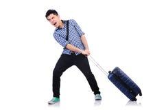 Jeune type avec le cas de voyage Photos libres de droits