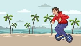 Jeune type dans le hoverboard hoody rouge d'équitation sur le fond tropical de plage Ligne plate illustration de vecteur horizont illustration libre de droits