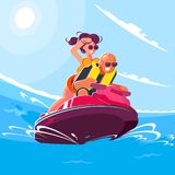 Jeune type gai avec un tour de fille un scooter de l'eau sur la mer un jour ensoleillé d'été Illustration plate de style du souri illustration stock