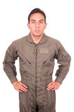 Jeune uniforme de port pilote masculin beau Photo libre de droits