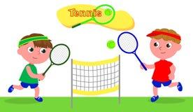 Jeune vecteur de joueur de tennis de bande dessinée Photo libre de droits