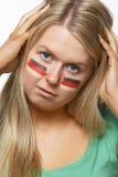 Jeune ventilateur de sports femelle déçu avec l'Allemand Image libre de droits
